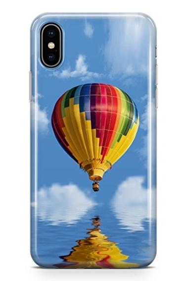 Lopard iPhone Xs Max Kılıf Silikon Arka Kapak Koruyucu Balondan Kalpler Desenli Full HD Baskılı Renkli